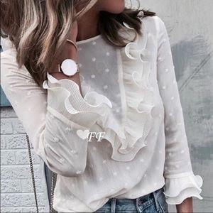 🤩LOVELY,🤩🌟ivory🌟chiffon, lace blouse‼️🎊💐🥳‼️